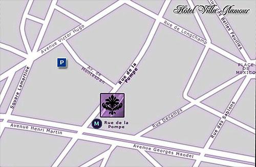 plan et acc s hotel villa glamour paris proche du 16eme arrondissement. Black Bedroom Furniture Sets. Home Design Ideas